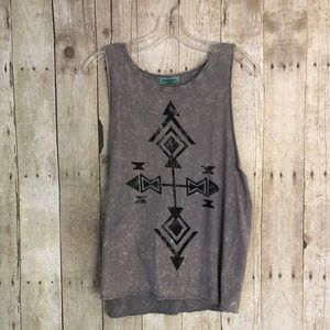 NWOT Distressed Aztec Muscle Tank